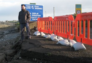 Joe O'Brien at collapsed Skerries sea wall