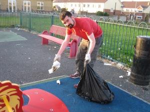 Joe O'Brien gathering rubbish at the Moylaragh playground on Tuesday July 9th