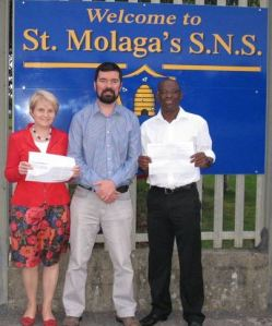 Joe O'Brien with Balbriggan residents Irena Suchecka (Polish) and John Itafemeh (Nigerian