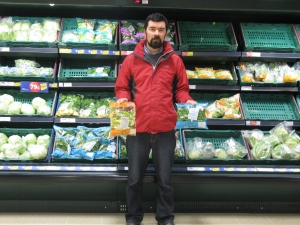 Joe O'Brien at Tesco Rush with the offending packs